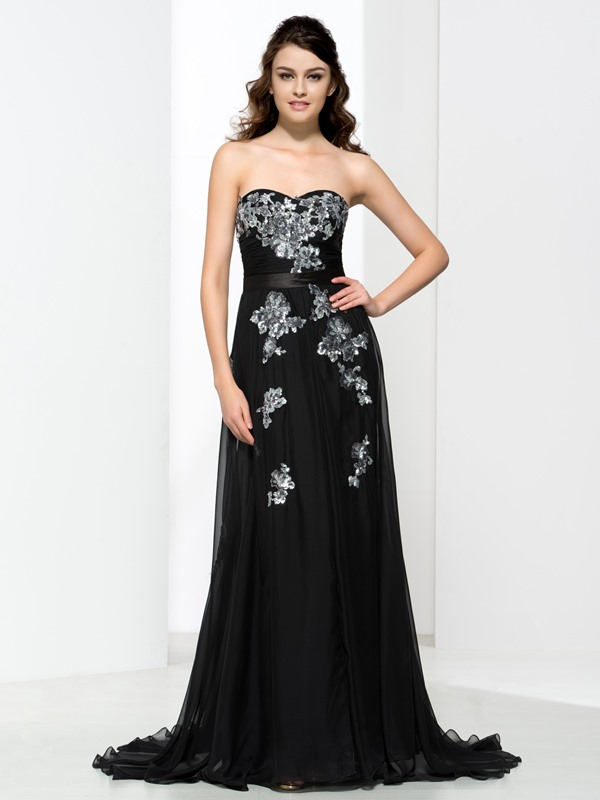 A-Line Sweetheart Appliques Black Evening Dress