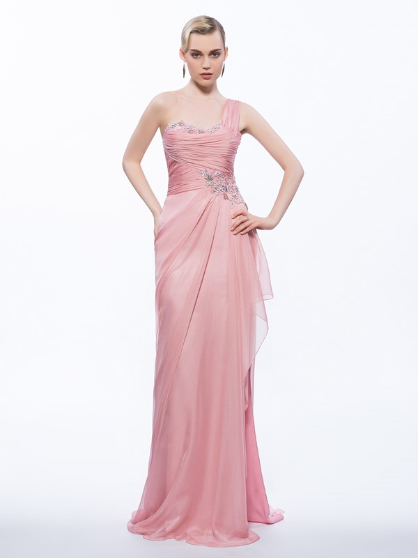 Beautiful One Shoulder Appliques Beading Sheath Evening Dress