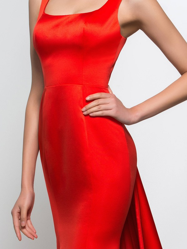 Graceful Square Neck Appliques Red Mermaid Evening Dress
