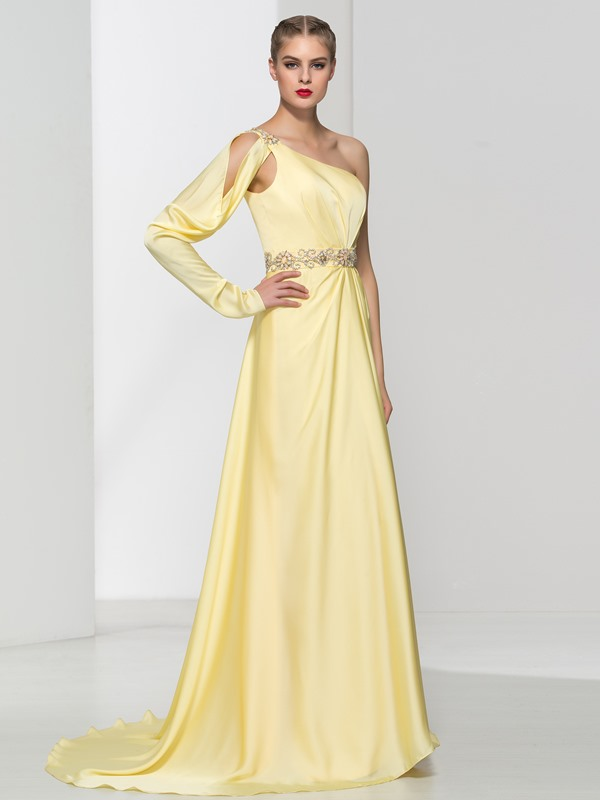 Graceful One Shoulder Long Sleeve Crystal Long Evening Dress