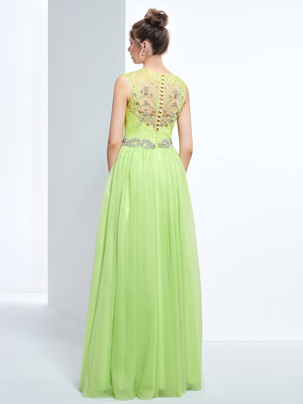 Jewel Neck Beading Button Lace Prom Dress