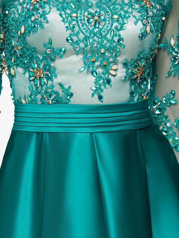 Long Sleeve Appliques Beading Long Evening Dress