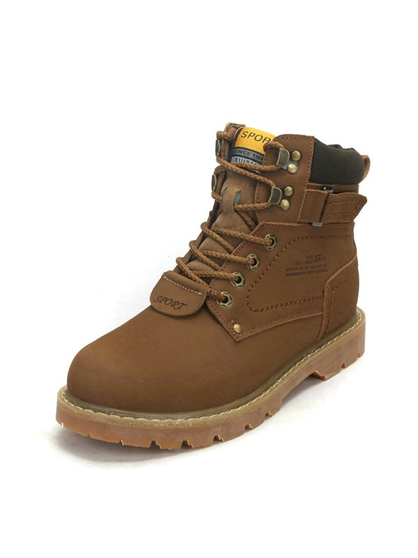 British Round Toe Lace-Up Work Boots