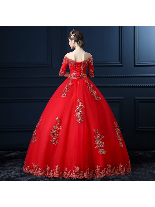 Ball Gown Half Sleeve Beaded Red Wedding Dress