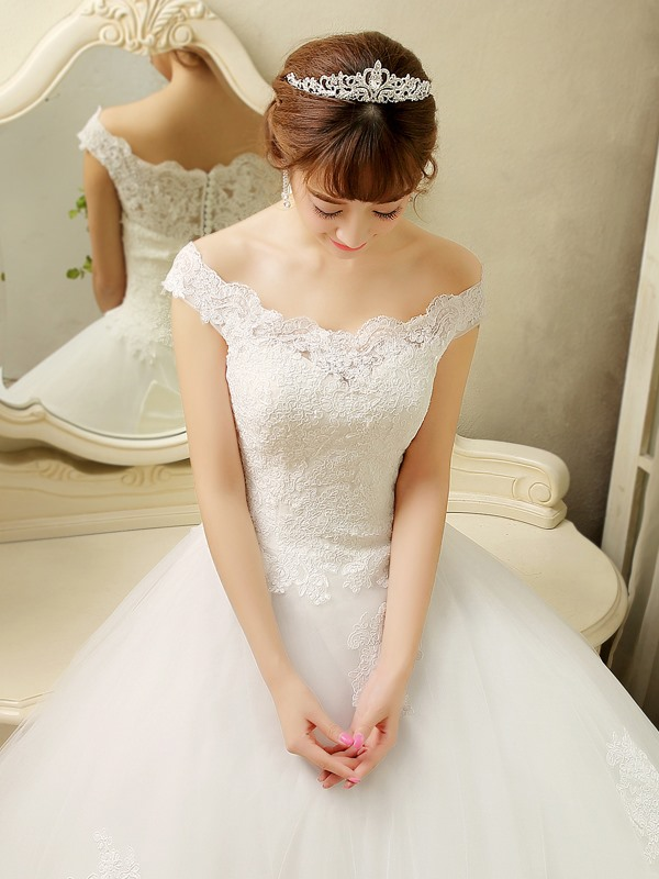 Lace Top Off the Shoulder Button Ball Gown Wedding Dress