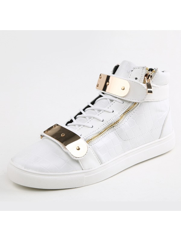 Embossed PU Sequins Zippered Sneakers
