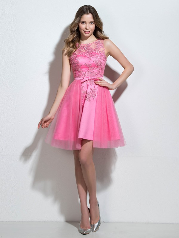 Straps A-Line Appliques Bowknot Short Homecoming Dress