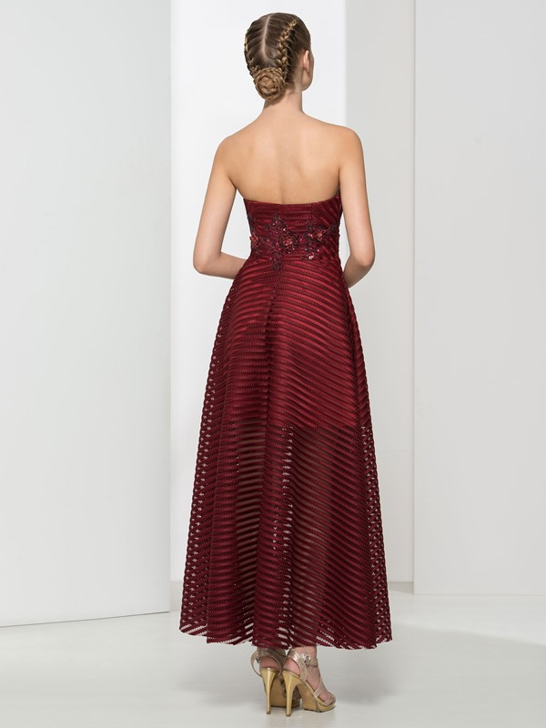 Classy Strapless Appliques Ankle-Length Evening Dress