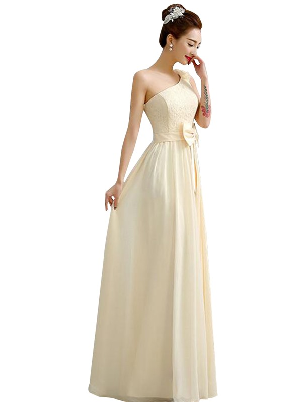 Charming Lace Top Champagne Long Bridesmaid Dress