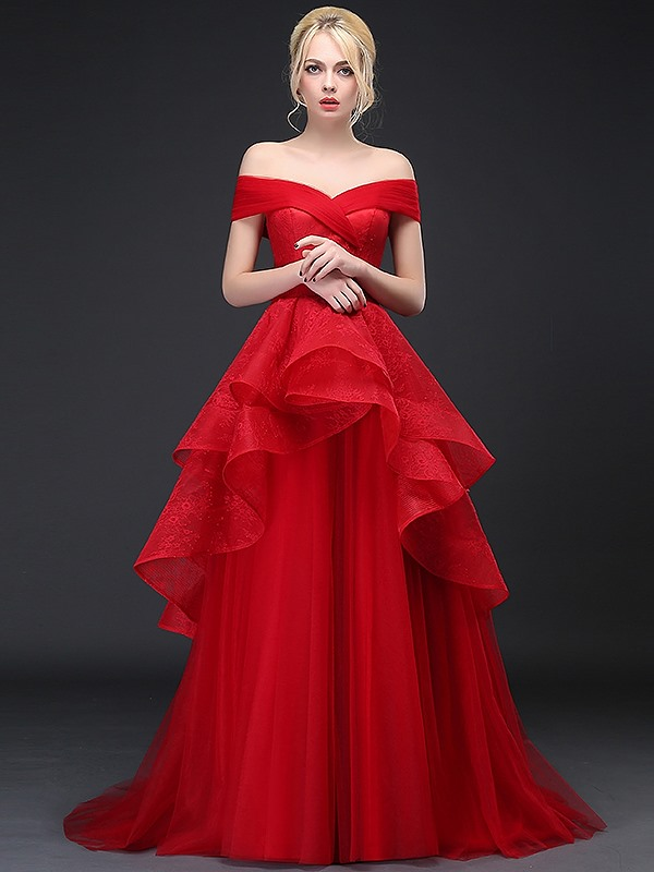 Dramatic Off the Shoulder Tiered Ruffles Lace Evening Dress(Free Shipping)