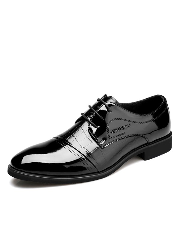 Embossed Round Toe Lace-Up Dress Shoes