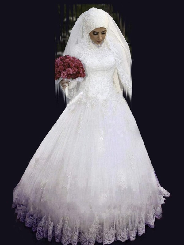 Beaded High Neck Appliques Muslim Wedding Dress