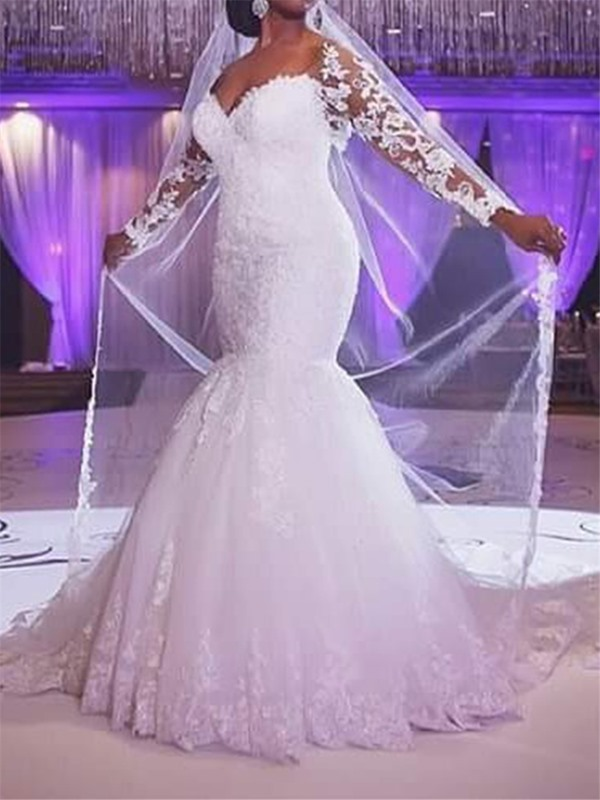 Illusion Lace Long Sleeves Mermaid Wedding Dress