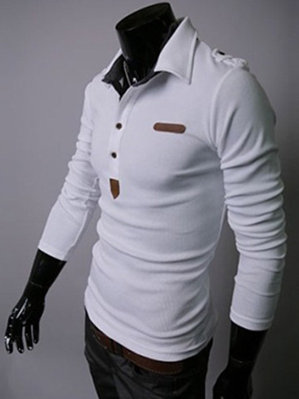 Half Breasted Decorated Lapel Plain Men's Polo