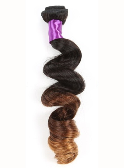 Ombre Color Wavy Human Hair Weave 1PC(Free Shipping)