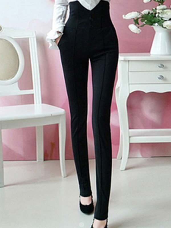 Elegant High-Waist Pocket Designed Pant
