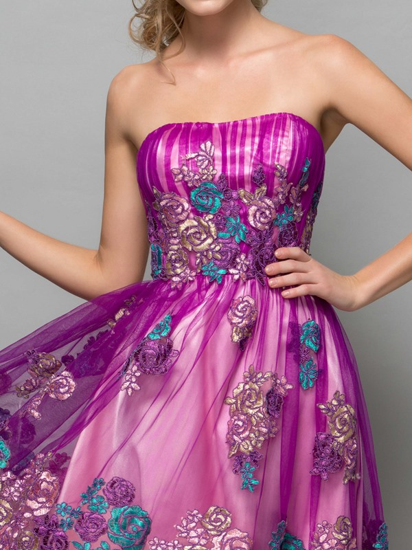 Fancy Strapless Appliques Knee-Length Homecoming Dress