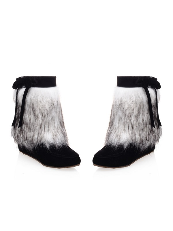 Faux Fur Bowknots Slip-On Hidden Heel Booties