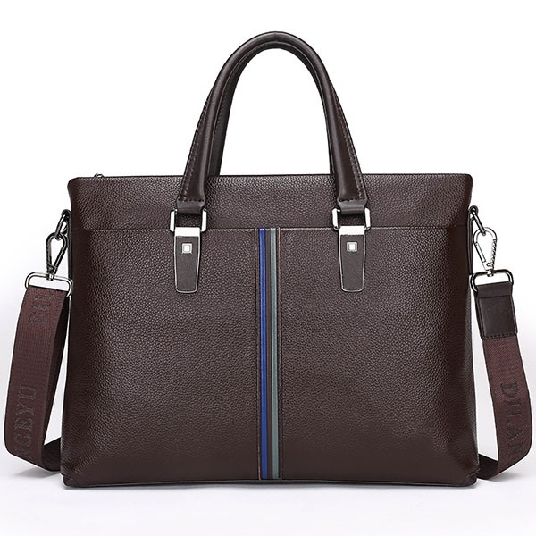 Solid Zipper Men Cowhide Handbag
