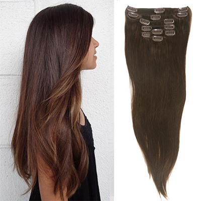Straight Human Hair 7 PCS Clip In Hair Extensions(Free Shipping)