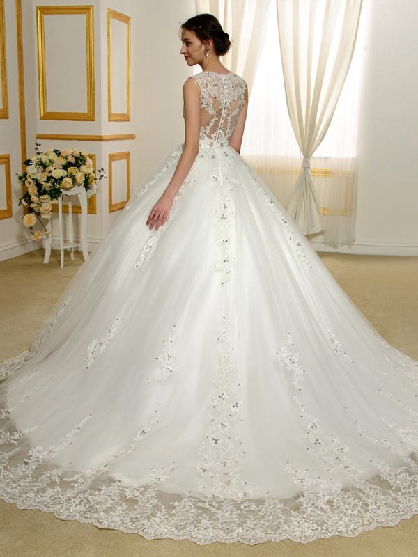 Beaded Lace Appliques V-Neck Sheer Back Ball Gown Wedding Dress