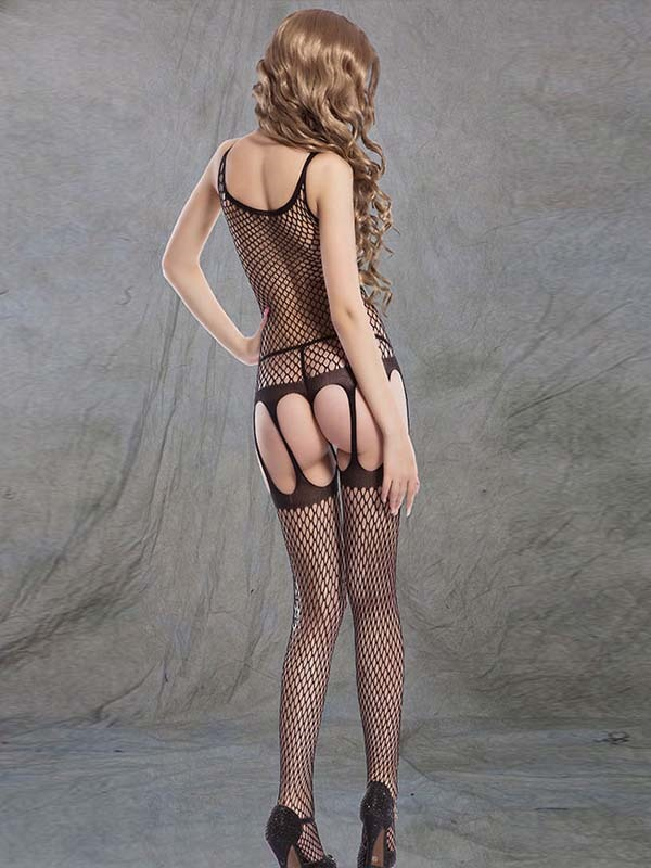 Ladies Sexy Lingerie Fishnet Hollow Black Body Stocking