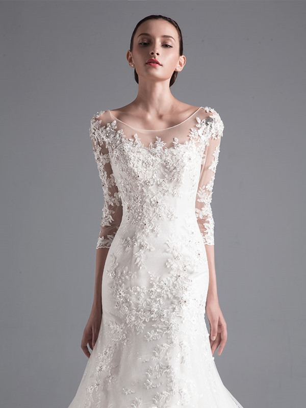 Illusion Neck Appliques Mermaid Wedding Dress with Sleeves