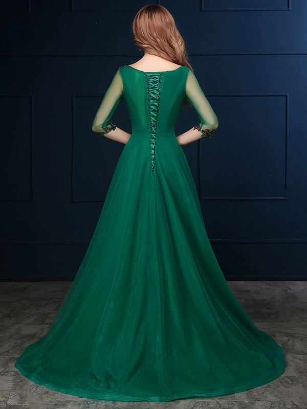Vintage Bateau Neck 3/4 Length Sleeve Appliques Tulle Evening Dress(Free Shipping)