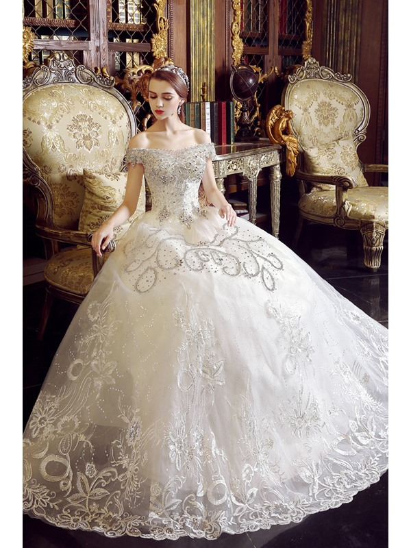 Luxurious Off the Shoulder Beaded Lace-Up Wedding Dress