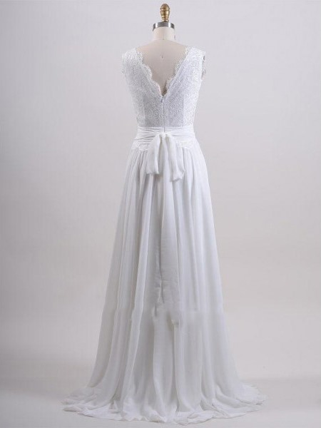 V-Neck Lace Top White Long Beach Wedding Dress
