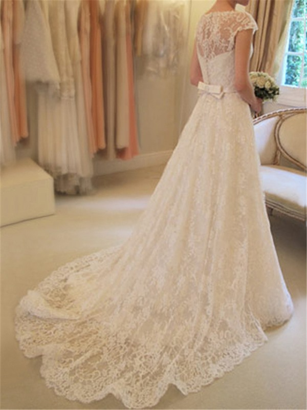 Scoop Neck Short Sleeve A-Line Lace Wedding Dress