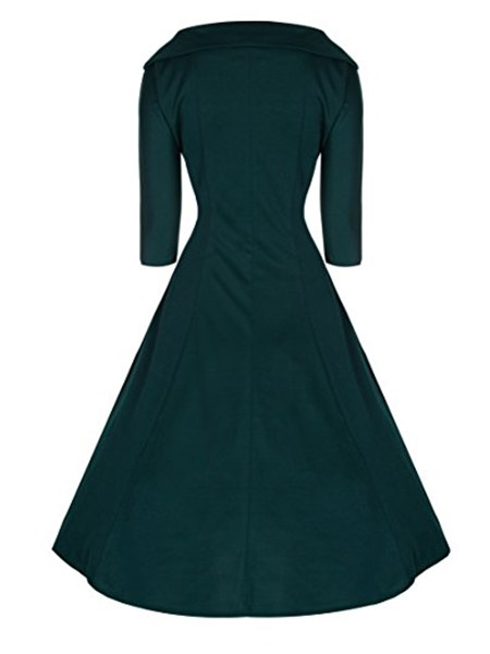 Solid Color 3/4 Sleeve Vintage Skater Dress