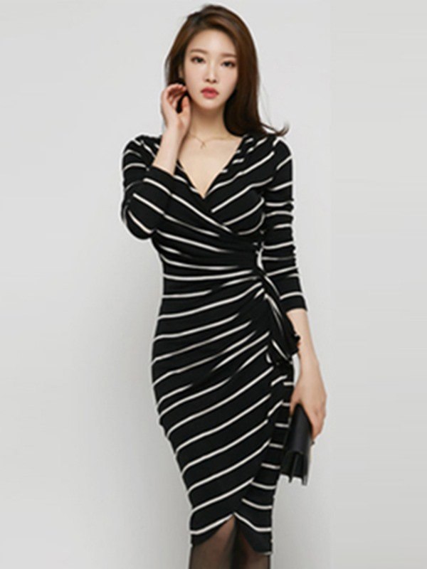 Asymmetric Stripe Long Sleeve Belt Bodycon Dress