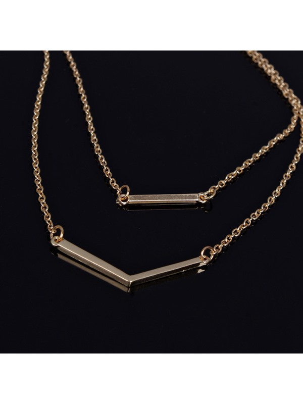 Geometric Pattern Double Layer Gold-Tone Alloy European Style Necklaces