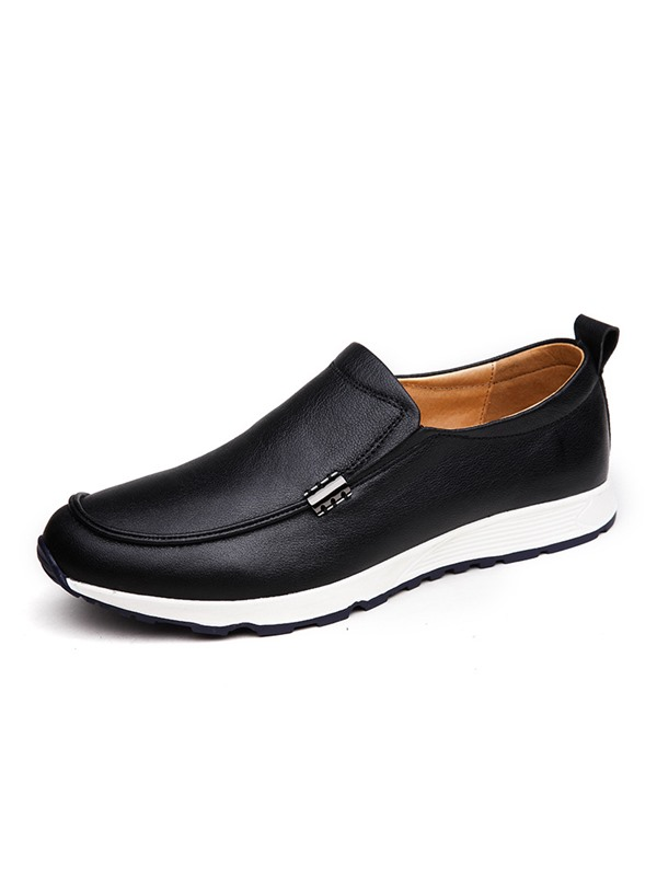Solid Color PU Slip-On Casual Shoes