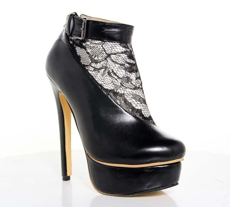 Lace Patchwork Stiletto Black Sexy Ankle Boots