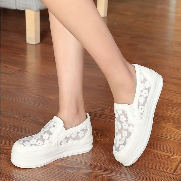 Embroidered Round Toe Slip-On Sneakers