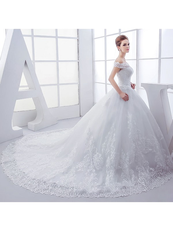 High Quality Off the Shoulder Ball Gown Appliques Wedding Dress