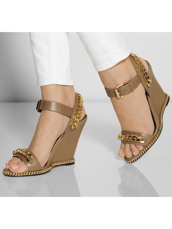 Deco Chains PU Open-Toe Wedge Sandals