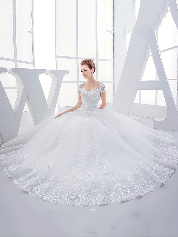 Sweetheart Open Back Short Sleeve Ball Gown Wedding Dress