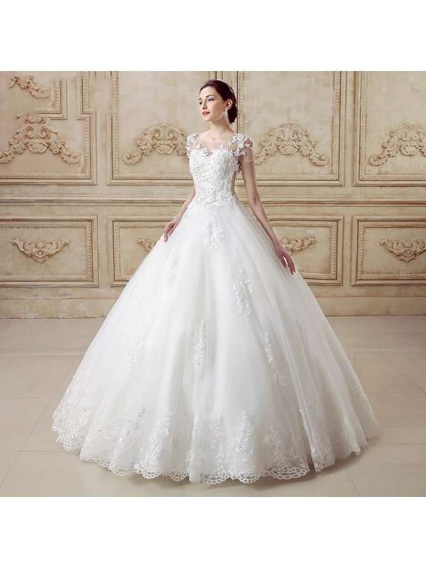 Illusion Back Short Sleeve Ball Gown Cathedral Wedding Dress