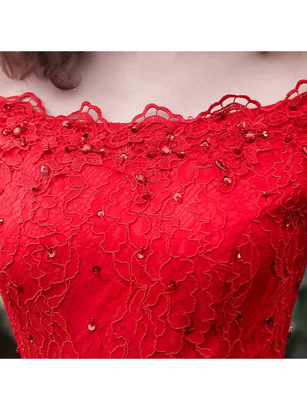 Off the Shoulder Appliques Beading Lace-Up Red Evening Dress