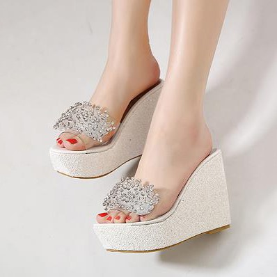 Rhinestone Sequins Slip-On Wedge Sandals