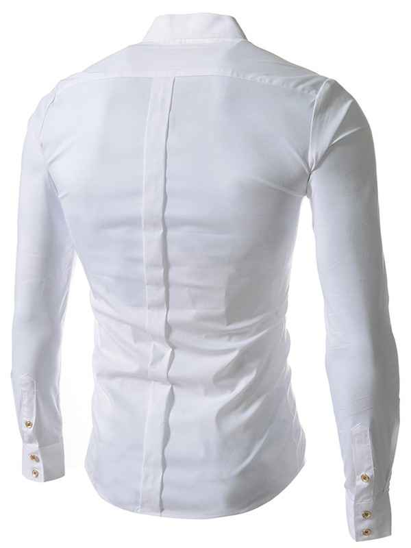 Solid Color Single-Breasted Solid Color Men's Shirt