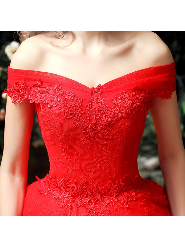 Tiered Ruffles Lace Ball Gown Red Wedding Dress