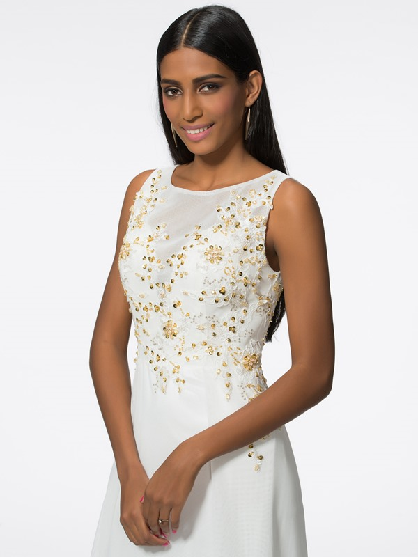 Fancy Scoop Neck Embroidery Beading Long Evening Dress