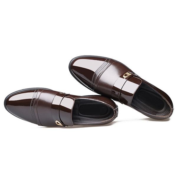 PU Plain Toe Square Heel Men's Dress Shoes