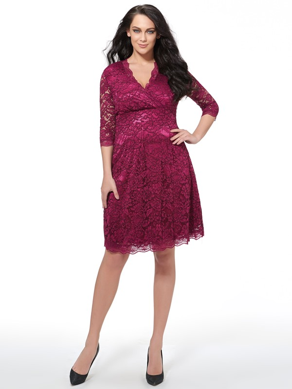 Plain V-Neck Half Sleeve Plus Size Women's Lace Dress