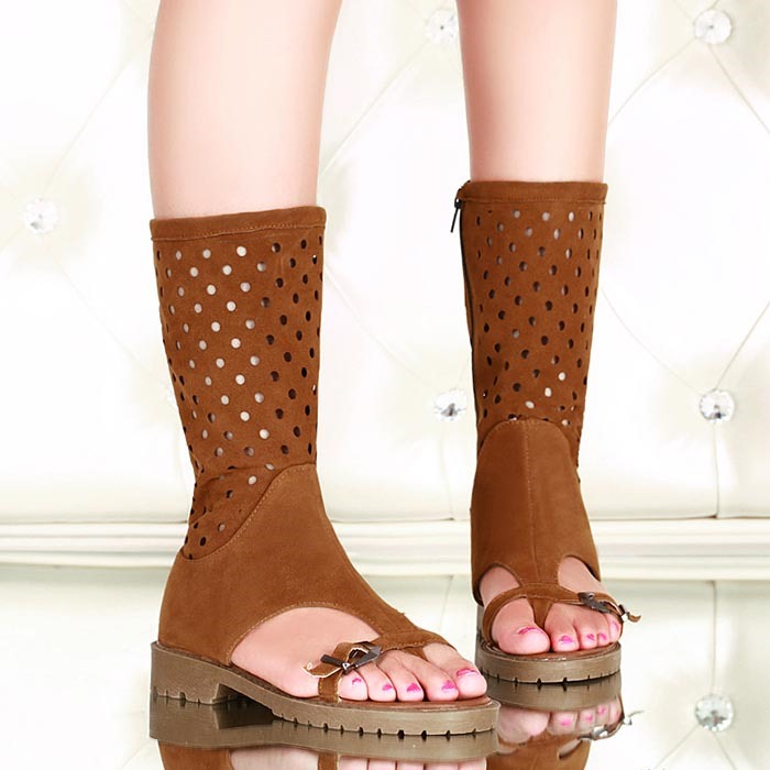 Suede Zippered Thong Flat Sandals