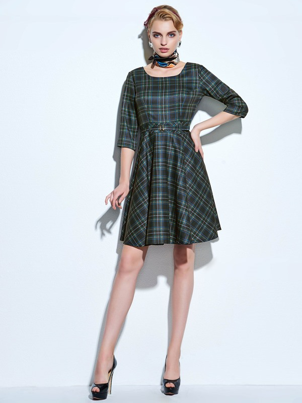 Plaid 3/4 Sleeve Women's Skater Dress